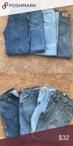 4 pair 34x32 3 pair of wrangler and 1 pair of signature Levi jeans. All 4 pair are size 34x32. These are in decent shape, especially for work jeans. There ate hat look to be a couple small paint stains, price reflects. This price is for all 4 pair. Contact for price to purchase separately Jeans Straight