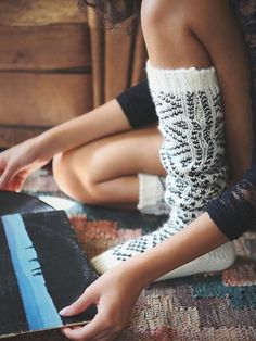 Peruvian Thigh High Sock from Free People. Cozy is the name of the game here:) Cute and a great stocking stuffer idea.