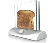 Transparent Toaster: It allows the users to see the bread while it is toasting, the concept seems to use two transparent heating glasses for bread toasting.