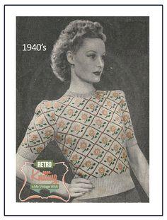 Fair Isle Sweater 1940s Vintage Knitting Pattern - PDF Instant Download - PDF Knitting Pattern