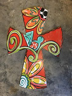 Red Bird Cross Door Hanger