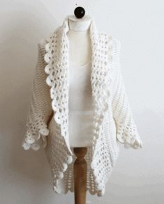 Maggie's crochet.com Original Design by: Maggie Weldon Skill Level: Easy Size: Small: Fits from Misses Small up to X-Large; Large: Fits Womens 2X-3X; X-Large: Fits Womens 4X-5X. For this pattern, you will need: Materials:Yarn Needle; Worsted Weight Yarn; White – 19 ½ (23 ¾, 27) oz, 1,280 (1,568, 1,773) yds [546 (665, 765) grams, 1,024 (1,254, 1,620) meters] Lion Brand® Wool-Ease® was used for our model. Crochet Hook: Size K-10 ½ (6.50 mm) or size needed to obtain gauge.