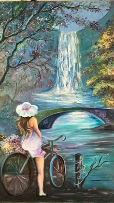 (Watercolor) Girl on bike. Beautiful Paintings, Landscape Paintings, Watercolor Art, Fantasy Art, Art Drawings, Scenery, Beautiful Pictures, Artist, Artwork