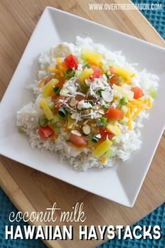 Hawaiian Haystack recipe. The chicken sauce is made with coconut milk and the entire dinner is read in less than 30 minutes!