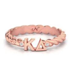 Kappa Delta Rose Gold Pav� Twist Letter Ring #kappa-delta #rings #rose-gold-plate
