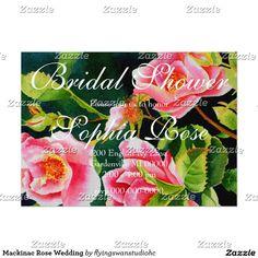 "Romantic rose watercolor painting - a view on Mackinac Island- ""Mackinac Rose""  Wedding Card"