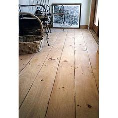 I love the wide-wood flooring!  Distressed Old Growth Eastern White Pine Hardwood-Hand Scraped Edges  #wideplankfloors