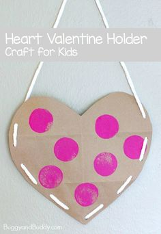 Heart Valentine Holder Made from a Brown Paper Grocery Bag- Easy Valentine's Day Craft for Kids! ~ BuggyandBuddy.com