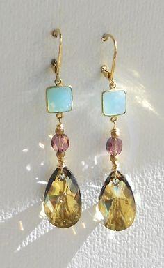 Austrian Crystal, Blue Chalcedony, Gold Vermeil Earring  1642e, $68