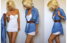How to wear your boyfriend's clothes.  With a longer dress this would be super cute =)