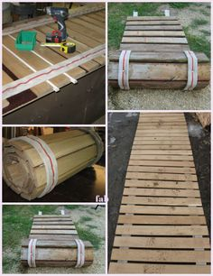 DIY Pallet Wood Roll-Up Sidewalk Tutorial DIY Palettenholz Roll-Up Bürgersteig Tutorial Pallet Crafts, Diy Pallet Projects, Wood Projects, Craft Projects, Diy Crafts, Pallet Exterior, Wood Pallets, Pallet Wood, Pallet Benches