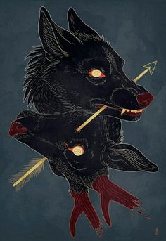 Art print on thick, archival matte paper (This print is designed so that either the wolf& head or the stag& head can be displayed on top, depending on your preference! Prints and posters are of the same material and qualitythe only difference Art And Illustration, Fantasy Kunst, Fantasy Art, Dessin Old School, Wallpaper Animes, Drawn Art, Arte Obscura, Wow Art, Art Plastique