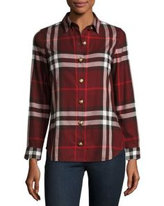 BURBERRY LONG-SLEEVE BUTTON-FRONT CHECK-FLANNEL SHIRT, RED. #burberry #cloth #