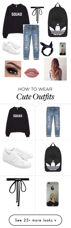 """Cute outfit with boyfriend jeans"" by chidsey on Polyvore featuring Hollister Co., adidas Originals, Topshop, Boohoo, Joomi Lim and Lime Crime"