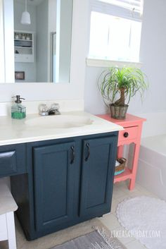 Master Bath Progress - Cabinets painted in Sherwin Williams Mount Etna