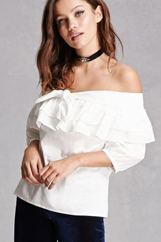 A woven top featuring an elasticized off-the-shoulder neckline, a tired flounce layer, a self-tie front, and 3/4 sleeves. This is an independent brand and not a Forever 21 branded item.