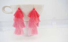 Pink Ombre Tassel Statement Earrings