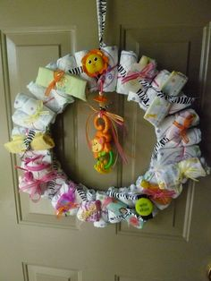 Jungle theme baby shower wreath for Angela's shower