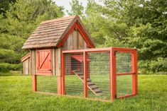 Chicken Coop       {Old Farm No. 1} Saved originally on Houzz. There are a few nice features (others are overkill). being able to close the chicken door from outside the run is nice. (flower pot counterweight inside. Could do similar for nesting roof