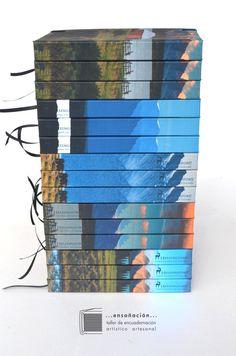 tall stack of hardcover landscape books landscape books by Mary Steibel  …ENSOÑACIÓN… ~ taller de encuadernación artístico artesanal ~