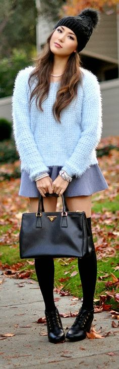 Short Skirt and Sweater Fashion.  Baby Blue Sweater with Grey Skirt and Black Leather Handbag with Boots by Hapa Time