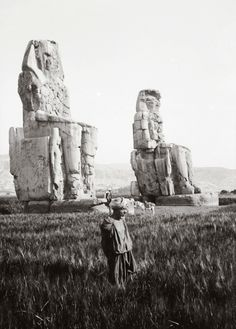 Colossi of Memnon. The two massive stone statues of Pharaoh Amenhotep III, c. In the Theban necropolis, west of the Nile, from the modern city of Luxor. Ancient Egypt Books, Old Egypt, Ancient Aliens, Ancient Art, Ancient History, Amenhotep Iii, Art Antique, Egyptian Art, Ancient Civilizations
