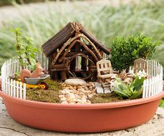 Here's how to create a miniature piece of real estate that kids can call their own; we think it would also be the perfect vacation home for a toad. Start with plants and mosses that will thrive in a container in your region -- a local nursery can make suggestions. Drill a few drainage holes in the bottom of the container (we used a 24-inch-wide plastic plant saucer), then fill it with potting soil. Seat the plants and moss in the dirt from largest to smallest and add plastic toys and…