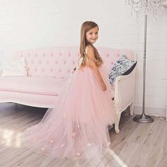 "Best seller! ""Lili"" Gown in Pink!  Sizes: 1-9 years (Other sizes and colors can be custom made)  To order, go to our website: ittybittytoes.com or  1-800-998-3428  Whatsapp: +14242980948 Or chat live with us online!"