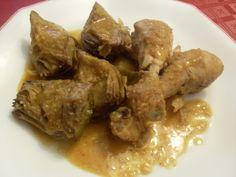 Paprika En La Cocina: Muslos de pollo con alcachofas y salsa de almendras