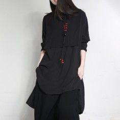 2017 fashion black linen blouse plus size false two pieces tops