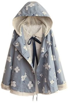 Aza Boutique Women`s Double Breasted Long Sleeve Hooded Floral Print Coat Cute Fashion, Look Fashion, Teen Fashion, Korean Fashion, Fashion Outfits, Dress For You, Cute Casual Outfits, Pretty Outfits, Looks Chic