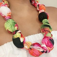 Fabric Necklace   https://www.etsy.com/listing/483004003/fabric-necklace-unique-necklace-colorful