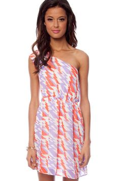 Natalie Belted Print Dress in Coral and Lavender $62 at www.tobi.com...go tigers maybe?