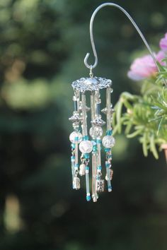 Miniature Fairy Garden Wind Chime, Dollhouse Windchime, Mini Garden Accessory, Silver,Teal Blue, Purple: