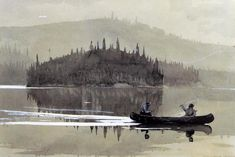 Winslow Homer Two Men in a Canoe hand embellished reproduction on canvas by artist Watercolor Landscape, Watercolor Art, Winslow Homer Paintings, Mall, Outdoor Magazine, Most Famous Paintings, John James Audubon, Oil Painting Reproductions, Impressionism