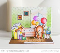 Handmade card from Anna Kossakovskaya featuring Birdie Brown Beary Special Birthday stamp set and Die-namics, Lisa Johnson…