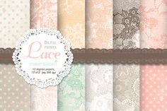 12 Lace patterned papers +editables by CLIPART GARDEN on Creative Market