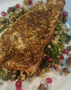 Catherine Rose cooks gluten, dairy and egg free Pan Fried za'atar seabass with Persian jewelled buckwheat – and gluten free donuts with a chocolate dippy sauce. Tilapia Dishes, Gluten Free Donuts, Sea Bass, Buckwheat, Egg Free, Fries, French Toast, Cooking, Breakfast