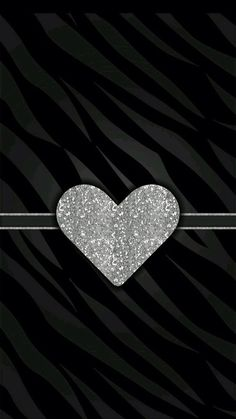 Silver Glitter Heart on Black Zebra Background