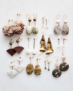 Marble, pearl and feldspar earrings