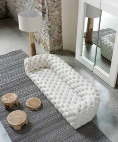 White quilted leather sofa Baxter