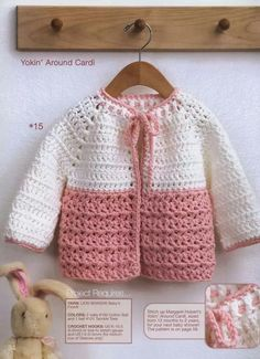 Crochet Cardigan Yoke Toddler Crochet Cardigan Pattern for ages 12 months, 18 months and 2 years. More Great Looks Like This - Yoke Toddler Crochet Cardigan Pattern for ages 12 months, 18 months and 2 years. Pattern: 2 More Patterns Like This! Crochet Toddler Sweater, Crochet Baby Cardigan Free Pattern, Crochet Baby Sweaters, Baby Sweater Patterns, Toddler Cardigan, Baby Girl Crochet, Crochet Baby Clothes, Crochet Jacket, Baby Knitting Patterns