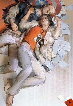 """#Stucky #steverogers #buckybarnes #Evanstan  cyberdelph: """"Lazy afternoon by Liduke(日子) """""""