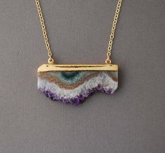 Double Connected Gold Amethyst Stalactite Slice Necklace...Love this