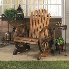 Wagon wheel adirondack western chair features slatted wood and wagon wheel arm rests. Country-style living has never been more charming or relaxing. This welcoming outdoor chair features slatted wood and wagon wheel arm rests. Western theme outdoor furniture. Made of fir wood; 28 1/2 inch width, 24 1/2 inch depth, 36 inch height. Item weight: 25 pounds 2 ounces. UPC: 849179016616. 10015792 WAGON WHEEL ADIRONDACK CHAIR