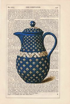 Vintage Blue Tea pot printed on dictionary book page- Upcycled art.