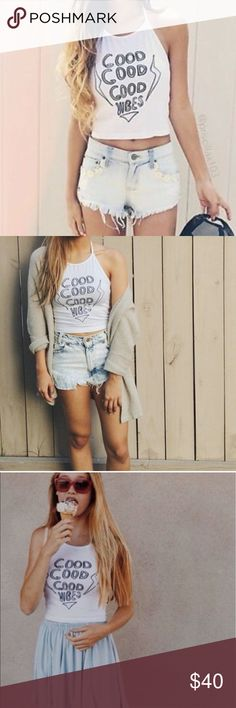 BOGO❤️Good good vibes sachi halter top So cute! Open to offers Brandy Melville Tops Crop Tops