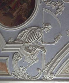 Ceiling plaster byJohannGeorgLeinberger,1729 -1731,CityHospital,formerSt.MichaelBenedictine Monastery-Dance of Death-Bamberg