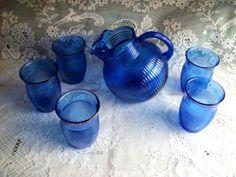 1930 COBALT BLUE DEPRESSION GLASS TILT JUG PITCHER + TUMBLER GLASSES