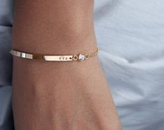 Gold bar necklace / Nameplate necklace / Initial bar by shopLUCA